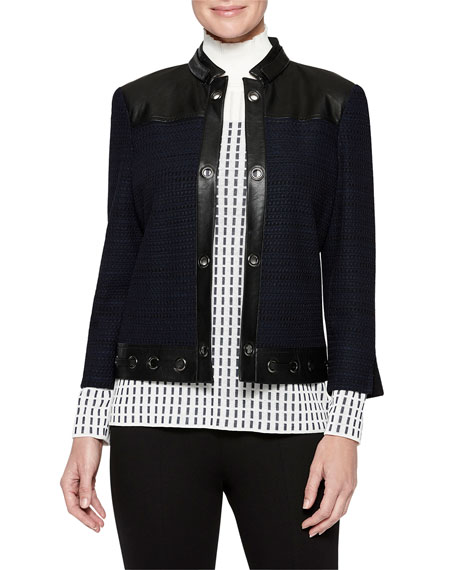 Misook Tweed And Faux Leather Jacket