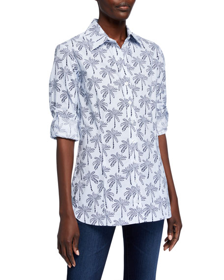 Finley Joey Desert Palm Print Shirt w/ Tab Sleeve