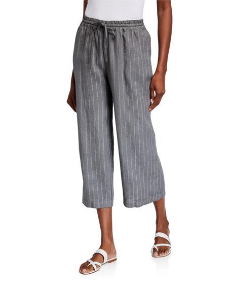 120% Lino Pinstripe Wide-Leg Crop Linen Pants