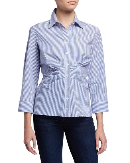 Finley Cleo Ralph Stripe 3/4-Sleeve Button-Down Shirt