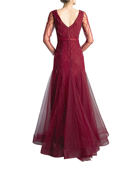 Basix Beaded V-Neck Long-Sleeve Godet A-Line Gown