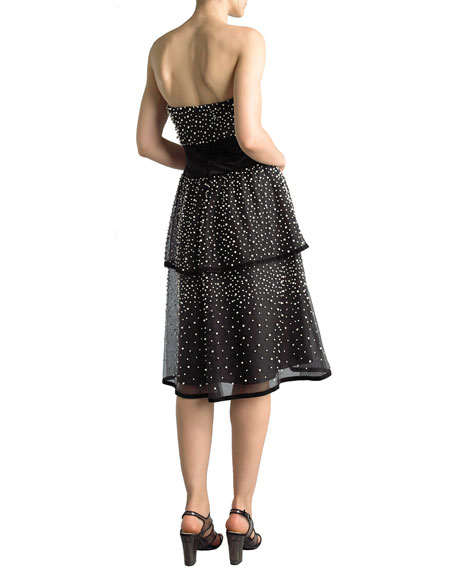 Basix Strapless Pearlescent Tiered Cocktail Dress