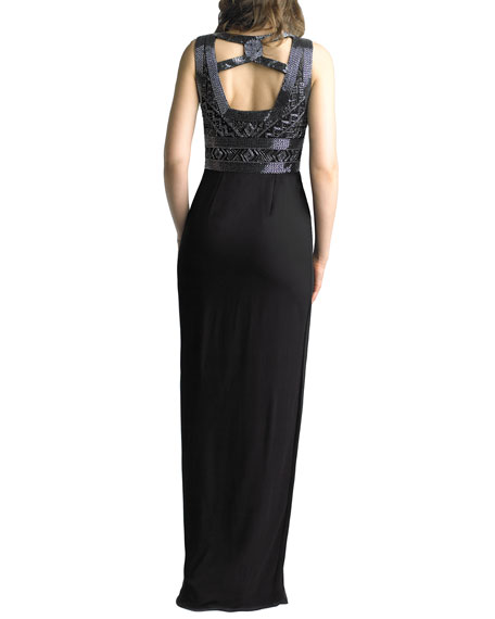 Image 2 of 2: Basix Beaded Ladder Front/Back Sleeveless Column Gown