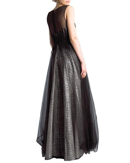 Basix Sleeveless Boat-Neck Beaded-Bodice Tulle Overlay Illusion Gown