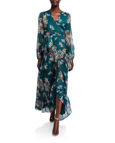 The Meryl Floral Long-Sleeve Wrap Dress