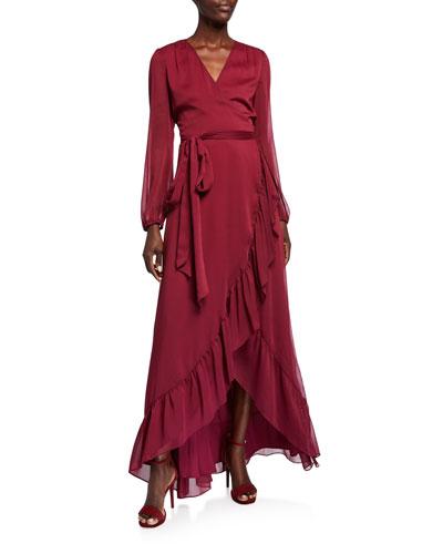 The Meryl Long-Sleeve High-Low Wrap Dress