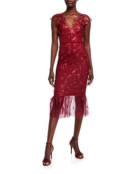Marchesa Notte Leaf Embroidered V-Neck Cap-Sleeve Flounce Hem Dress