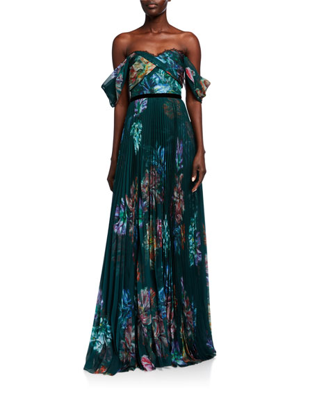 Marchesa Notte Watercolor Off-the-Shoulder Draped Bodice Chiffon & Charmeuse Gown