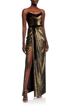 Marchesa Notte Strapless Foiled Velvet Column Gown