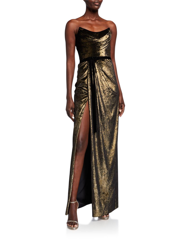 strapless-foiled-velvet-column-gown by marchesa-notte