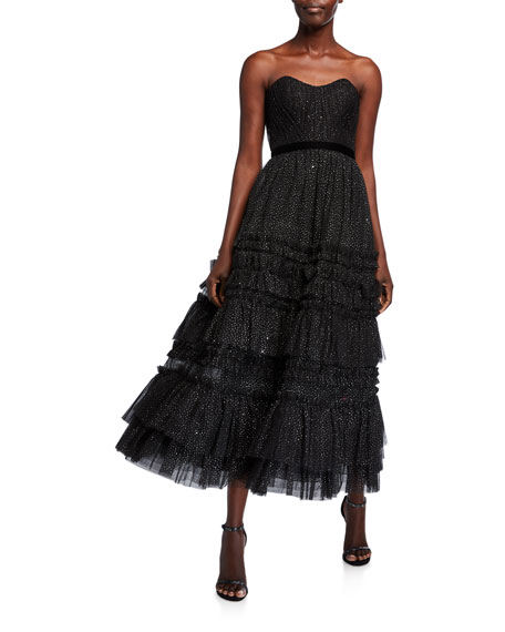 Marchesa Notte Strapless Glitter Tulle Textured A-Line Tea Length Gown