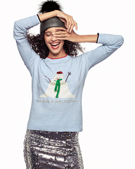 Lisa Todd Plus Size Having A Meltdown Snowman Holiday Sweater
