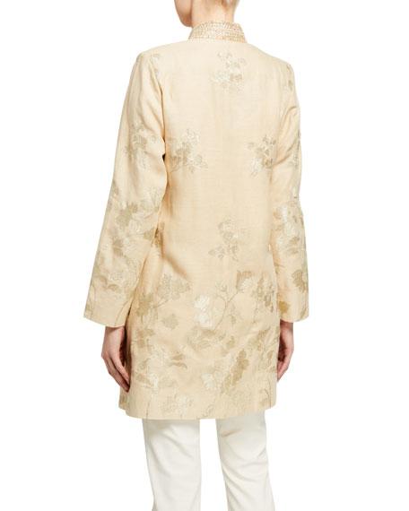 Bella Tu Bloom Jacquard Metallic Thread Jacket w/ Embellished Mandarin Collar