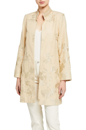 Bella Tu Bloom Jacquard Metallic Thread Jacket w/ Embellished Mandarin Collar