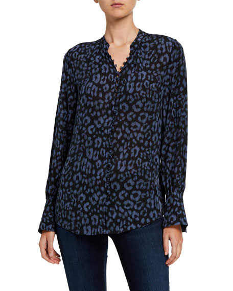 Joie Tariana Leopard-Print Button-Down Top