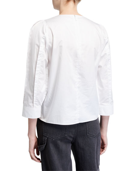 Image 2 of 2: Tibi 3/4-Sleeve Satin Poplin Sculpted Tucked Top
