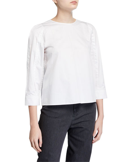 Image 1 of 2: Tibi 3/4-Sleeve Satin Poplin Sculpted Tucked Top