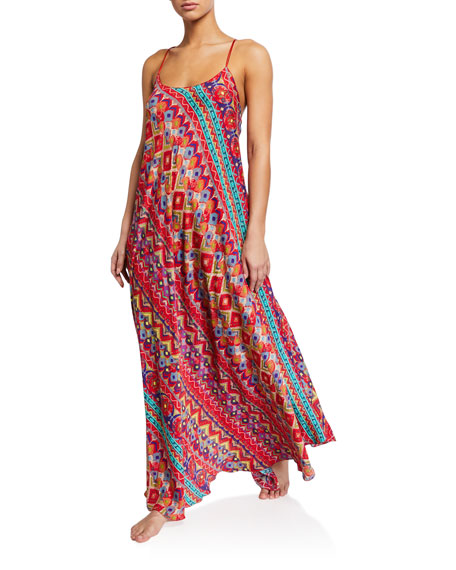 Etro Printed Cross-Back Long Coverup Dress