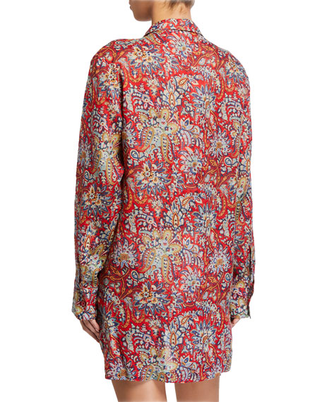 Etro Paisley-Print Button-Down Tunic Coverup