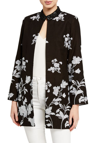 Bella Tu Bloom Floral Jacquard Jacket w/ Sequin Embellished Collar