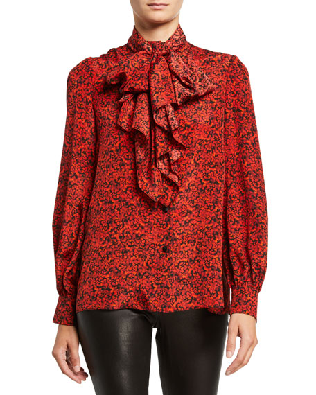 Alice + Olivia Tammy Mandarin-Collar Button-Down Top with Removable Tie