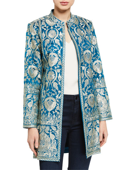 Bella Tu Selena Metallic Embroidered Jacket w/ Mandarin Collar