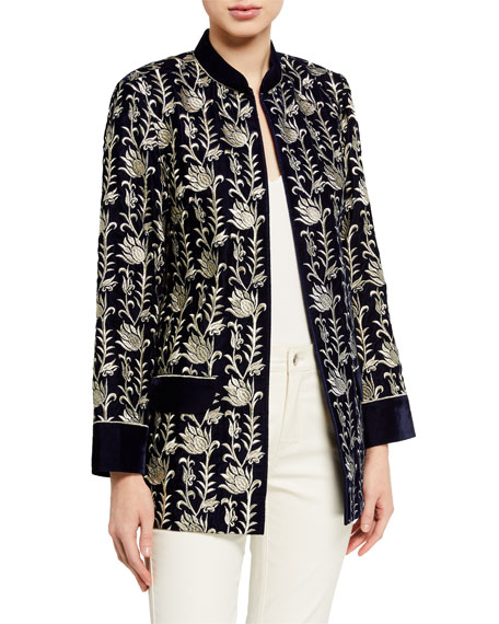 Bella Tu Noel Velvet Jacket with Metallic Embroidery