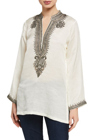 Bella Tu Azza V-Neck Long-Sleeve Linen-Blend Tunic w/ Metallic Bead Trim