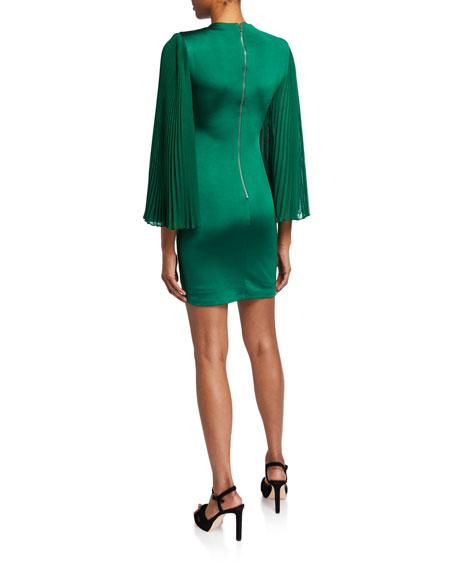 Alice + Olivia Zaya Pleated-Sleeve Cocktail Dress