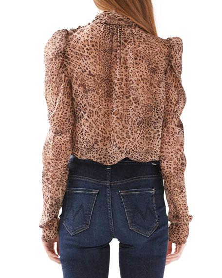 ML Monique Lhuillier Leopard Mock-Neck Puff-Sleeve Top