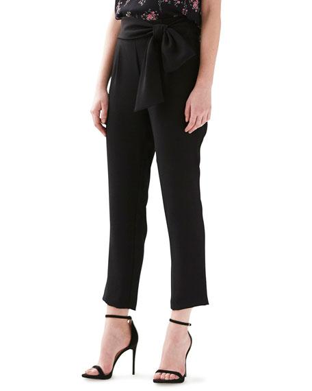 ML Monique Lhuillier Crepe Ankle Pants with Bow Detail