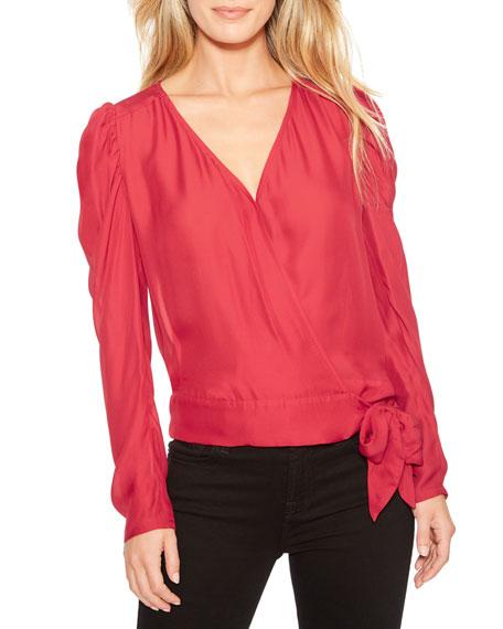 Parker Arya Long-Sleeve Wrap Blouse