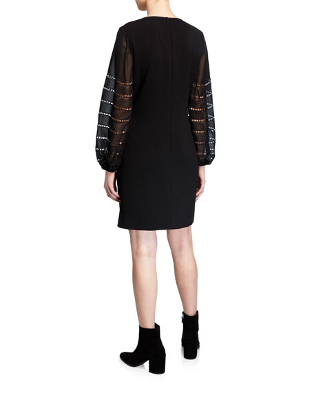 Trina Turk Crepe Sheath Dress with Chiffon Sleeves & Ladder Stitches
