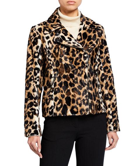 Trina Turk Faux Leopard Moto Jacket