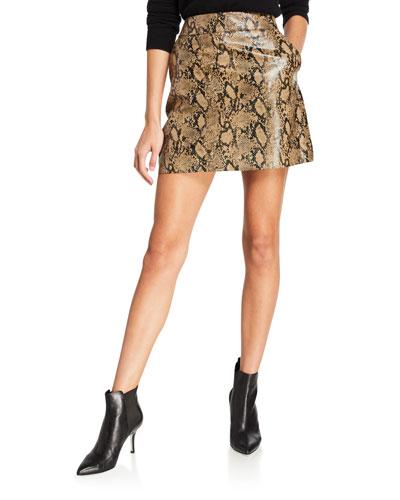 Embossed Python Mini Leather Skirt
