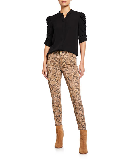FRAME Le High Skinny Cropped Python Coated Jeans