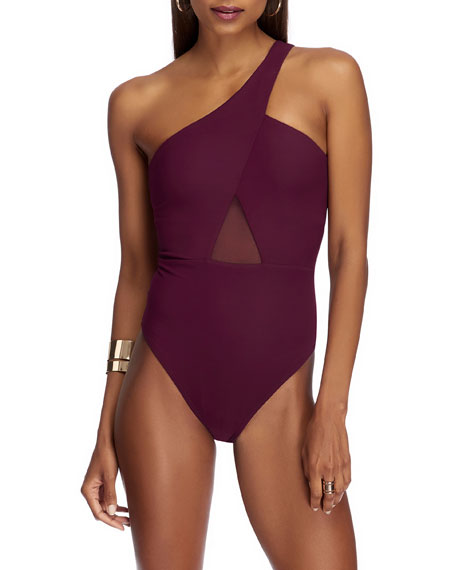 Image 1 of 3: JETS by Jessika Allen One-Shoulder Mesh-Inset One-Piece Swimsuit