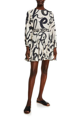 Rhode Ella Printed Poplin Belted Dress