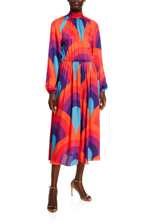 Rhode Mai Printed Open-Back Blouson-Sleeve Dress