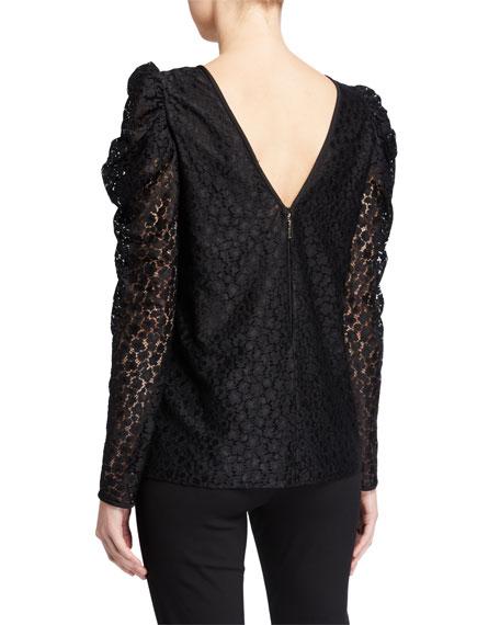 kate spade new york flora leopard lace long-sleeve blouse
