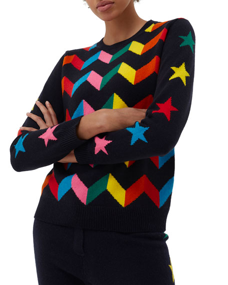 Chinti And Parker Chevron Wool-Blend Sweater w/ Star Intarsia