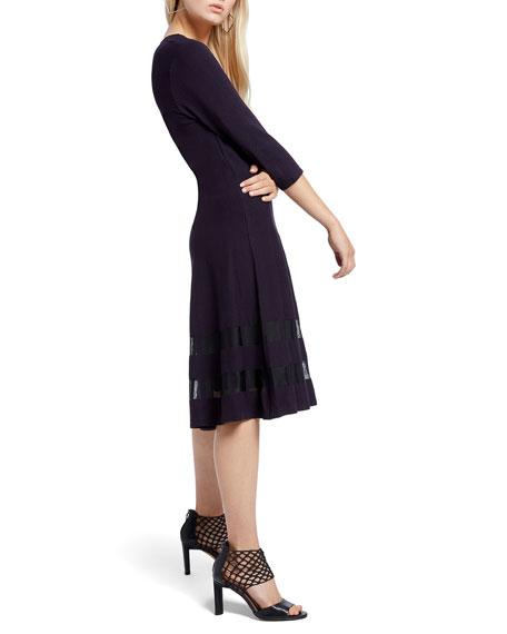 NIC+ZOE Petite Charming Twirl 3/4-Sleeve Ponte Dress