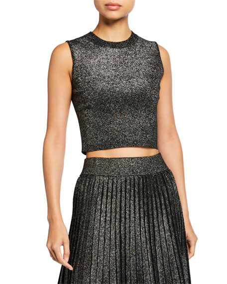 A.L.C. Mariam Sleeveless Metallic Crop Top