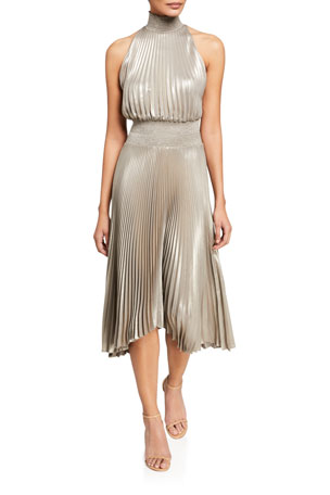 A.L.C. Renzo Halter-Neck Plisse Dress
