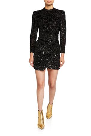 A.L.C. Jane Metallic Velvet Burnout Mini Dress