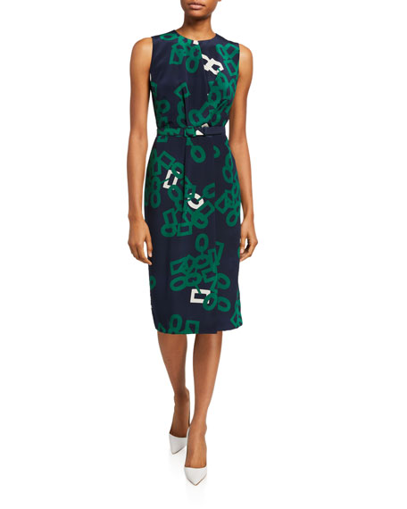 Lafayette 148 New York Jude Falling Link Print Sleeveless Belted Silk Dress