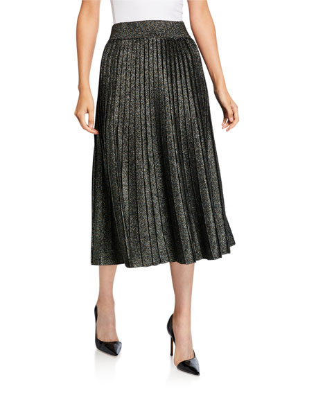 A.L.C. Nevada Metallic Pleated Midi Skirt