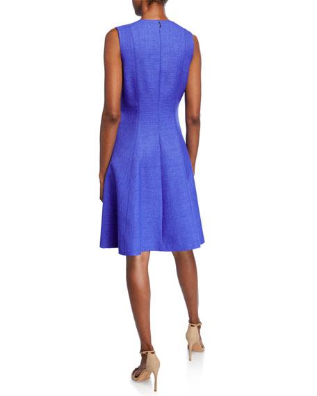 Elie Tahari Peyton Sleeveless A-Line Dress with Side Zip Details