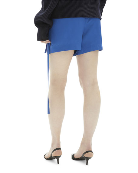 Helmut Lang Side-Tie Viscose Pull-On Shorts