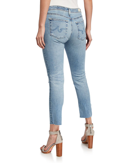 AG Prima Mid-Rise Cropped Skinny Jeans - 16 Yrs Destructed
